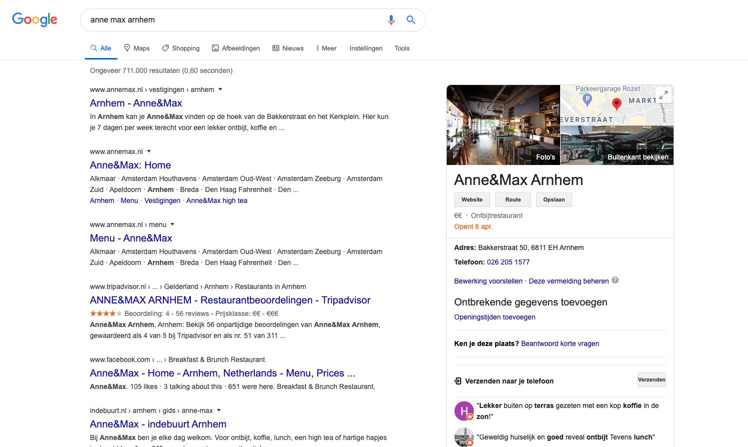 google my business screenshot anne max arnhem